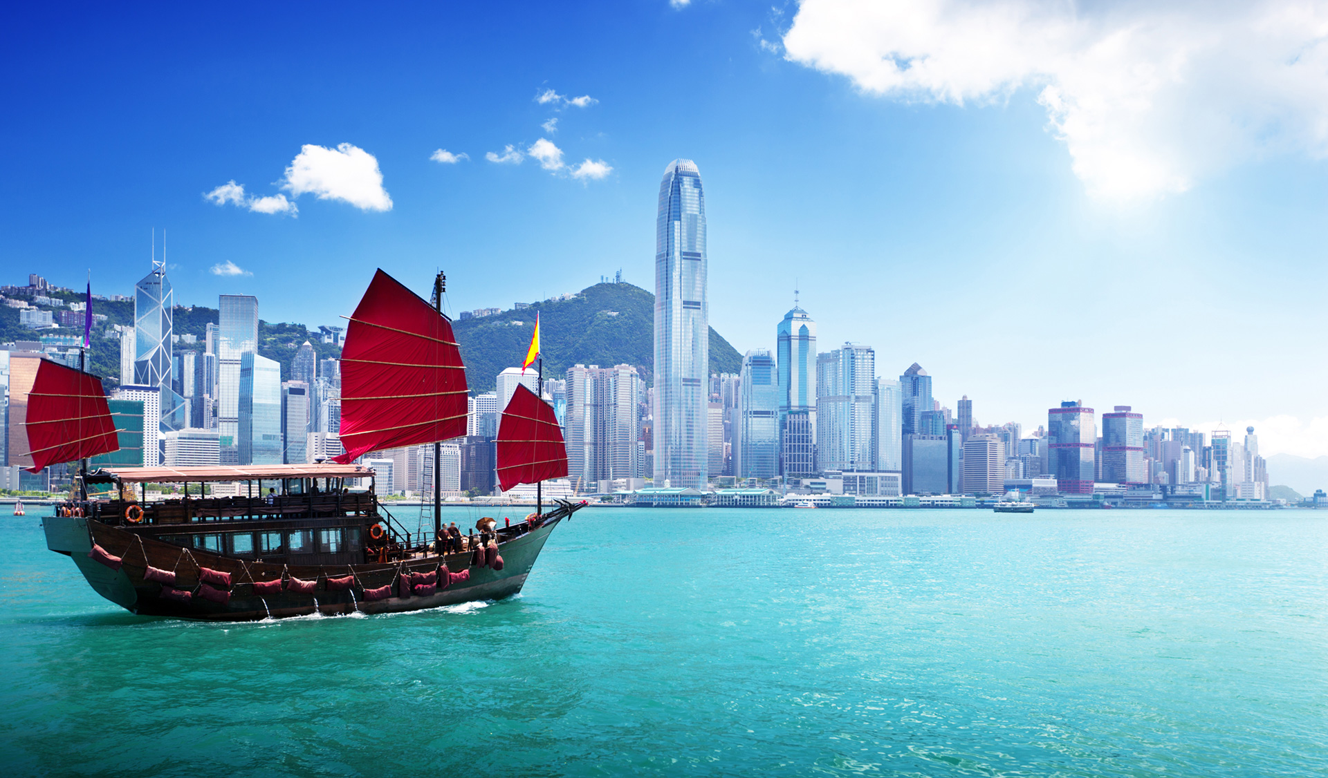 Image of Hong Kong skyline from the water with boat in the foreground